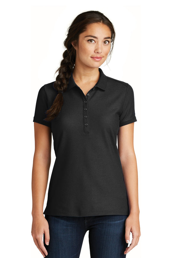 New Era® - Ladies Venue Home Plate Polo in Black. LNEA300