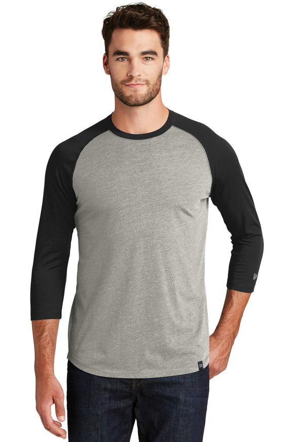 New Era® - Heritage Blend 3/4-Sleeve Baseball Raglan Tee in Black/Rainstorm Grey Heather.  NEA104