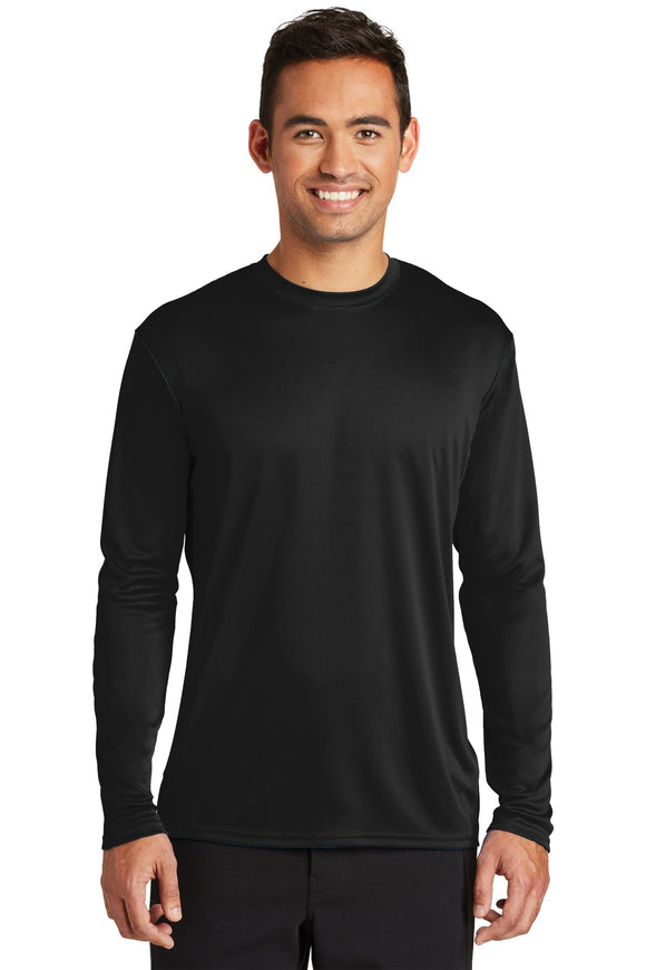 Port & Company® - Long Sleeve Performance Tee in Black.  PC380LS