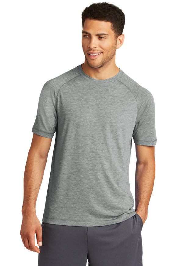 Sport-Tek® - PosiCharge Tri-Blend Wicking Raglan Tee in Dark Grey Heather.  ST400