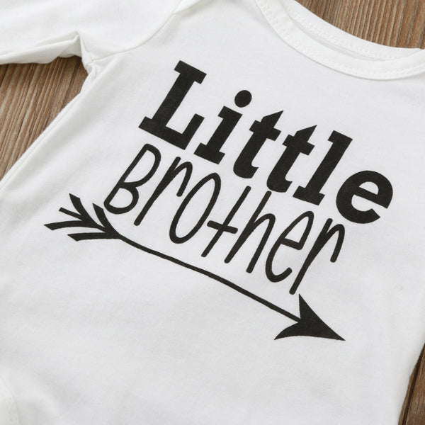 """Little Brother"" Long Sleeve Baby Grow"