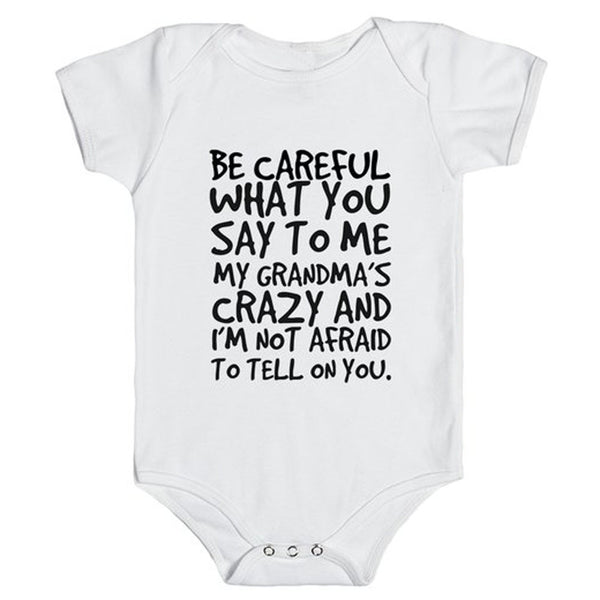 """Be Careful what you say..."" Baby Grow"