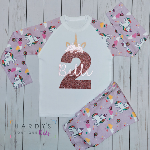 Unicorn Birthday Pjs