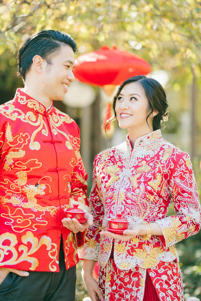 Chinese Wedding Banquet Decorations, Dragon Tang Suit, Phoenix Qun Kwa Chinese Traditional Wedding Dress