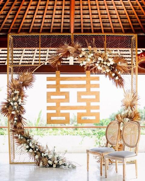 Beautiful Double Happiness Chinese Wedding Backdrop