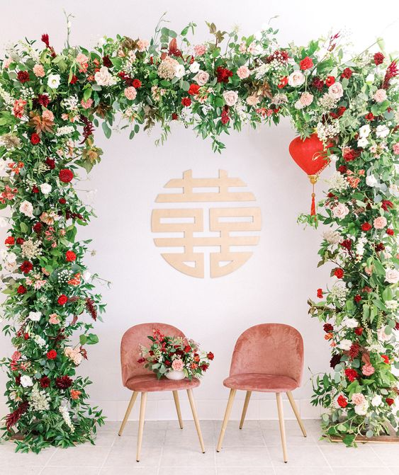 Chinese Wedding Backdrop with Lush Greenery