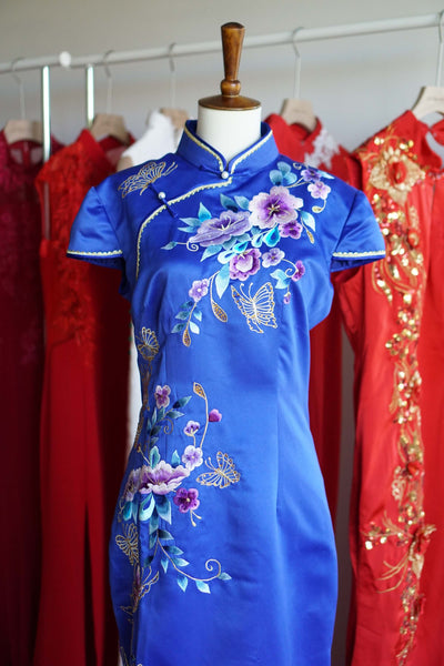Blue Chinese Dress, Blue Cheongsam Wedding Dresses, East Meets Dress