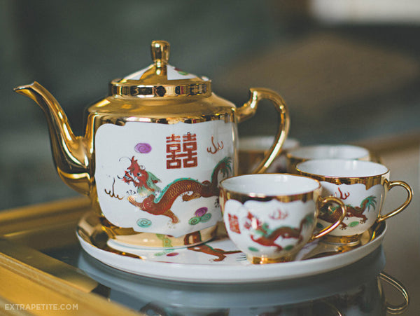 Gold Double Happiness Tea Set