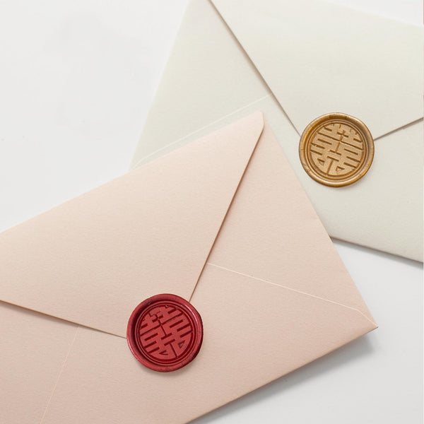 Double happiness envelope wax stamp