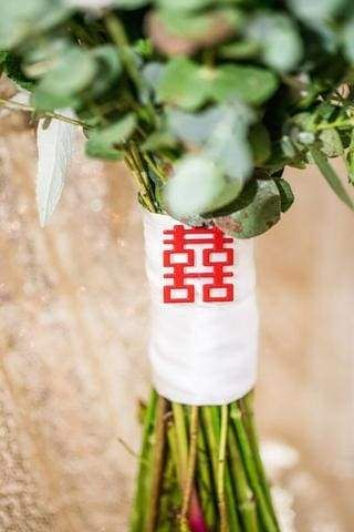 30 Best ideas for a Modern Chinese Wedding | Double Happiness Bouquet Sash