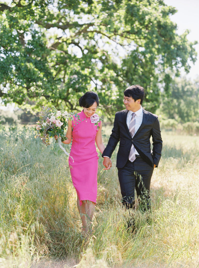 East Meets Dress Modern Pink Wedding Qipao