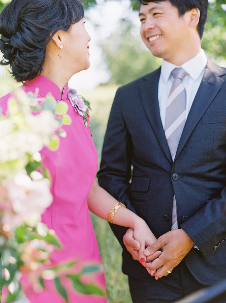 Asian American Pink Wedding Qipao
