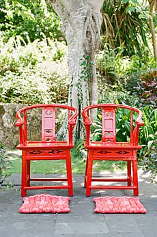 Chinese Wedding Decorations, Red Chairs for Tea Ceremony