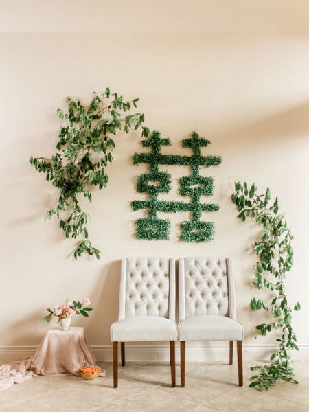 Modern Chinese Wedding Banquet Decorations, Greenery for Double Happiness Sign