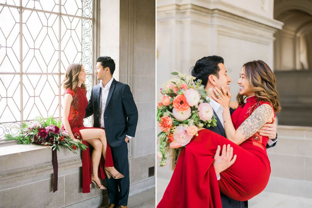 East-Meets-Dress-Chinese-Wedding-Engagement-Shoot-City-Hall