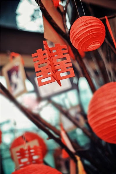 5 Must-Have Chinese Wedding Symbols For Your Wedding, Red Double Happiness and Lantern Signs, By East Meets Dress