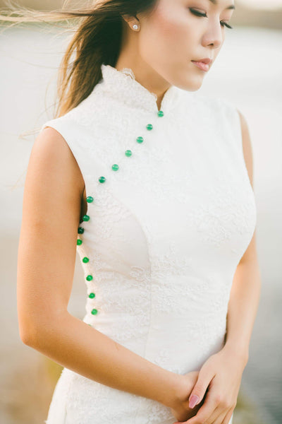 Modern Chinese Qipao Dress, Jade Lace Qipao from East Meets Dress