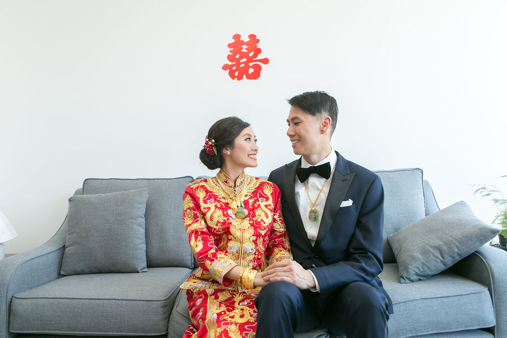 Asian American Bride Wearing Red and Gold Qun Kwa