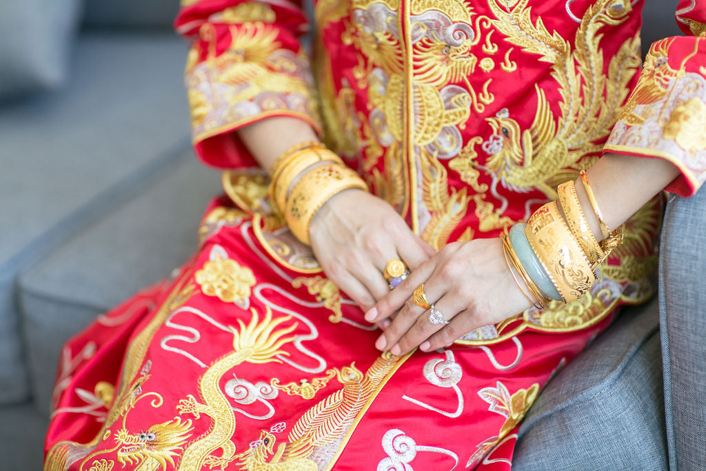 Chinese Wedding Qun Kwa and Gold Fortune Bangles