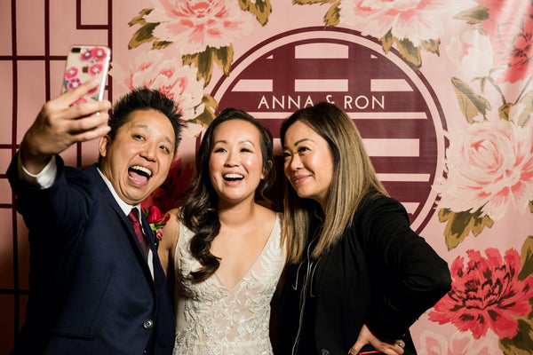 East Meets Dress Modern Chinese Wedding Double Happiness Backdrop
