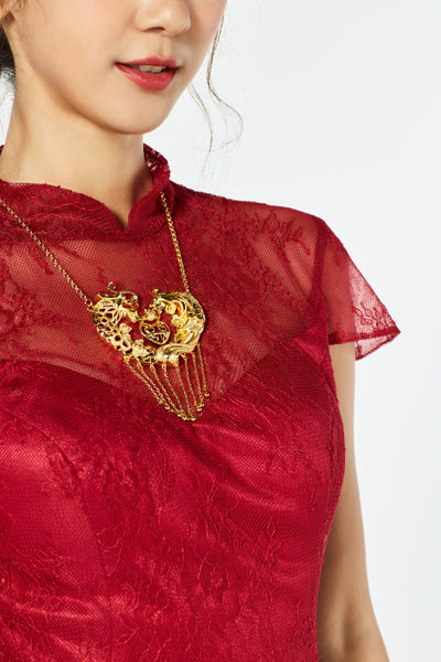 East Meets Dress Chinese Wedding Dress Accessory, Chinese Gold Necklace