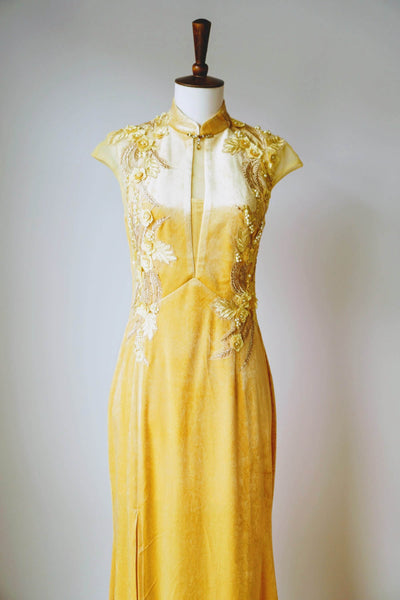 Gold Chinese Dress, Gold Cheongsam Wedding Dresses, East Meets Dress