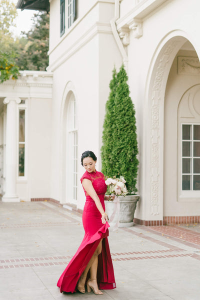 Modern Cheongsam Qipao Dress For Your Chinese Wedding Inspiration, Wine Red Amal Dress