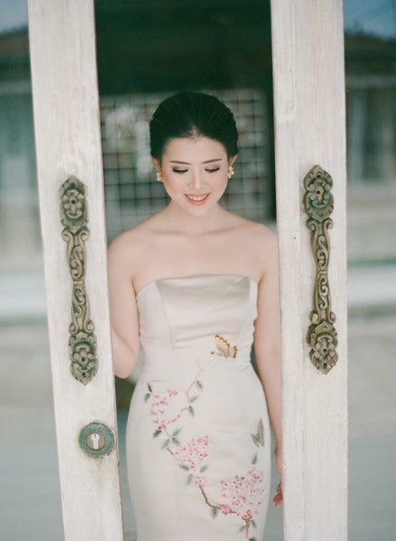 Modern Cheongsam Qipao Dress For Your Chinese Wedding Inspiration, Gold Embroidery Chinese Wedding Dress