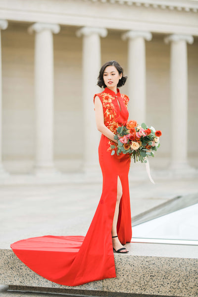 Modern Cheongsam Qipao Dress For Your Chinese Wedding Inspiration, Red Maxine Mermaid Dress