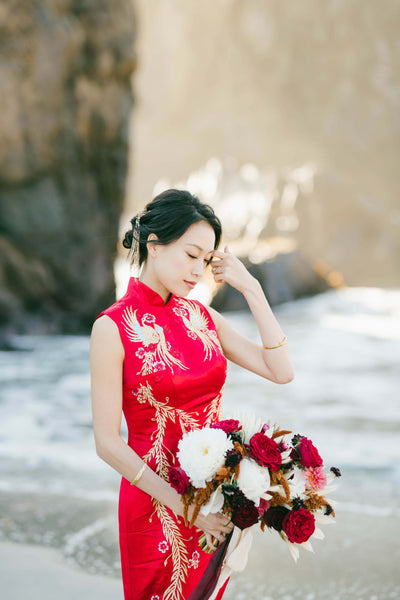 Modern Cheongsam Qipao Dress For Your Chinese Wedding Inspiration, Red Phoebe Dress
