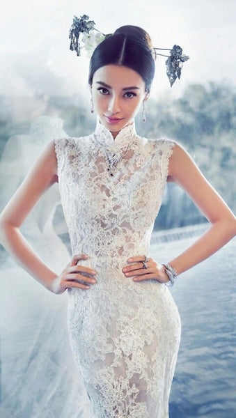 Modern Cheongsam Qipao Dress For Your Chinese Wedding Inspiration, Lace Chinese Wedding Dress