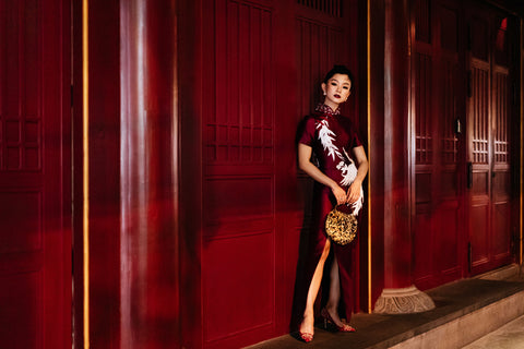 Modern Cheongsam Qipao Dress For Your Chinese Wedding Inspiration, Wine Red Dress