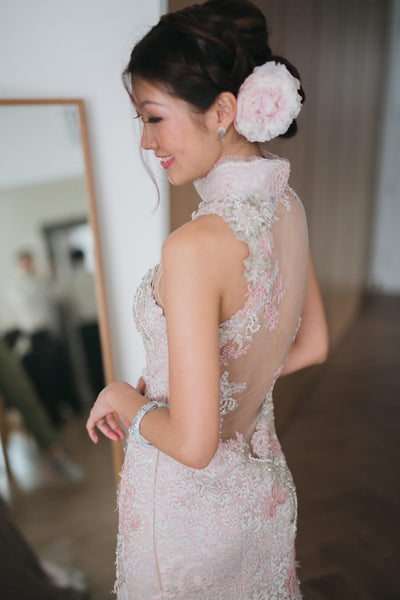 Modern Cheongsam Qipao Dress For Your Chinese Wedding Inspiration, Pink Lace Chinese Wedding Dress