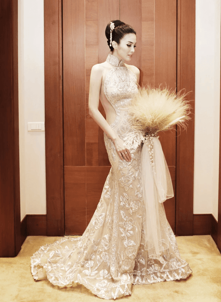 Modern Cheongsam Qipao Dress For Your Chinese Wedding Inspiration, Gold Royal Chinese Wedding Dress