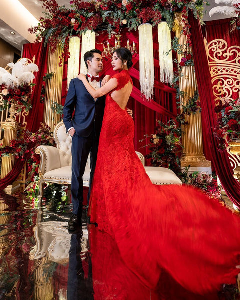Modern Cheongsam Qipao Dress For Your Chinese Wedding Inspiration, Red Lace Mermaid Dress