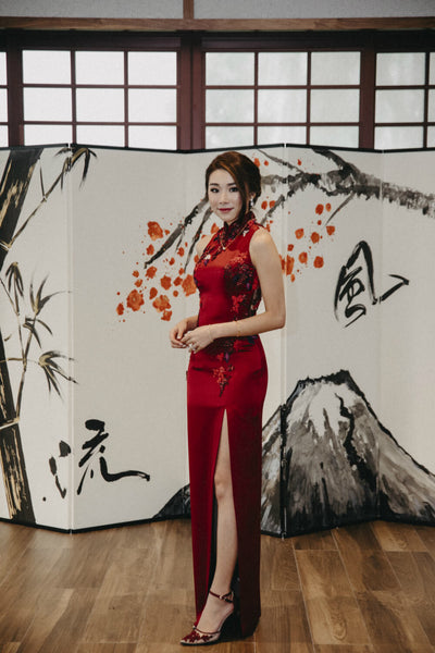 Modern Cheongsam Qipao Dress For Your Chinese Wedding Inspiration, Wine Red Traditional Chinese Wedding Dress