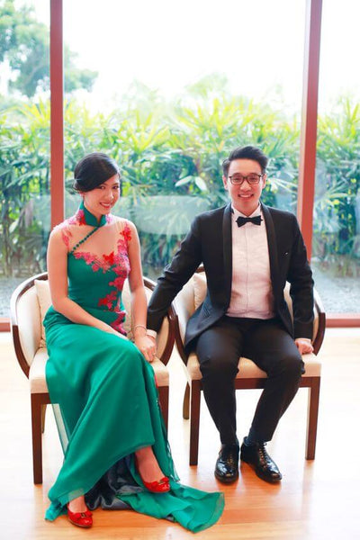 Green Chinese Dress, Green Cheongsam Wedding Dresses, East Meets Dress