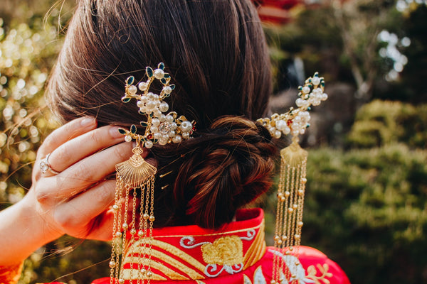 East Meets Dress Chinese Wedding Dress Hair Accessory, Pearl Hairpin