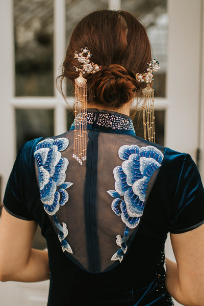 East-Meets-Dress-Pearl-Hairpin-Chinese-Wedding-Dress