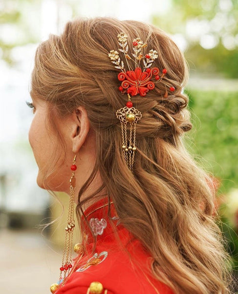 East Meets Dress Chinese Wedding Dress Hair Accessory, Ruby Hairpin