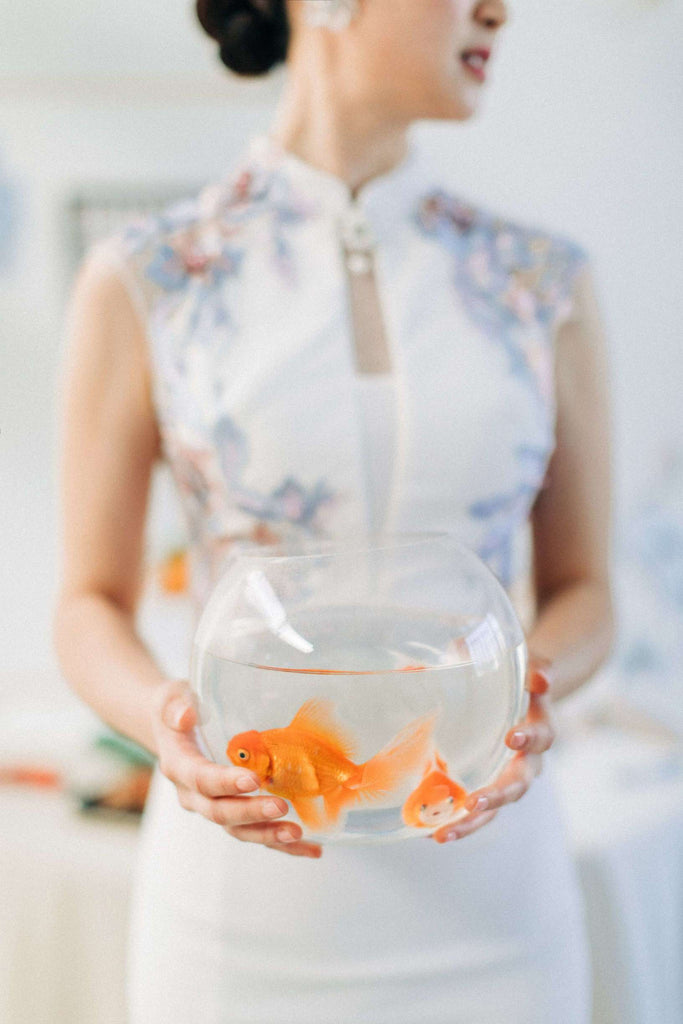 Chinese Wedding Tradition Ideas, Modern White Cheongsam and Koi Fish