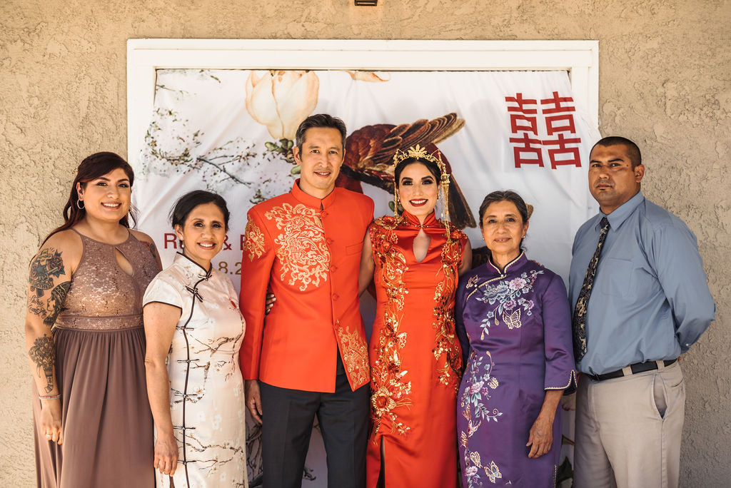 Multicultural Chinese and El Salvadoran Wedding with Modern Cheongsams