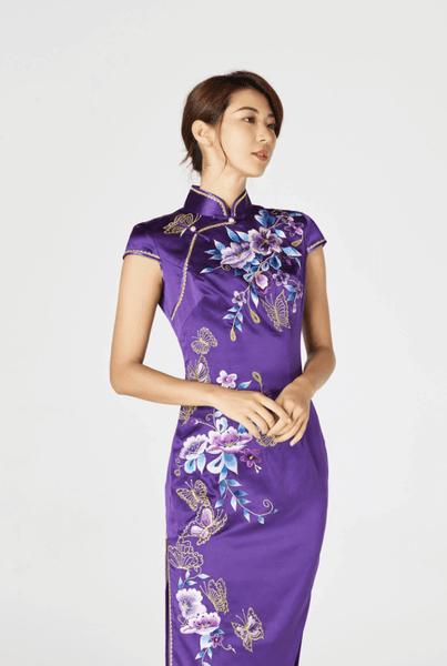 Purple Chinese Dress, Purple Cheongsam Wedding Dresses, East Meets Dress