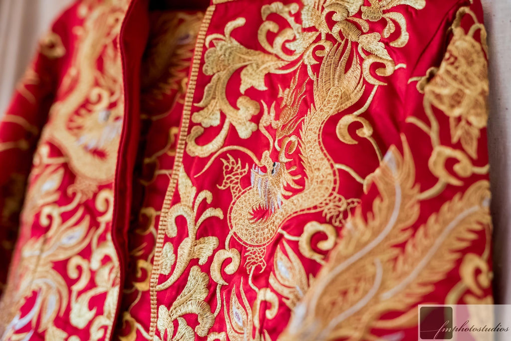 Red and Gold Dragon Phoenix Qun Kwa