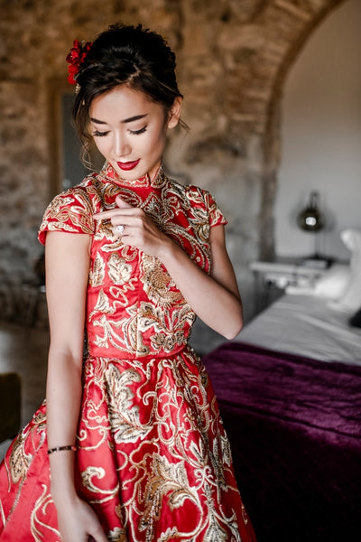 Modern Cheongsam Qipao Dress For Your Chinese Wedding Inspiration, Red Gold Embroidery Dress