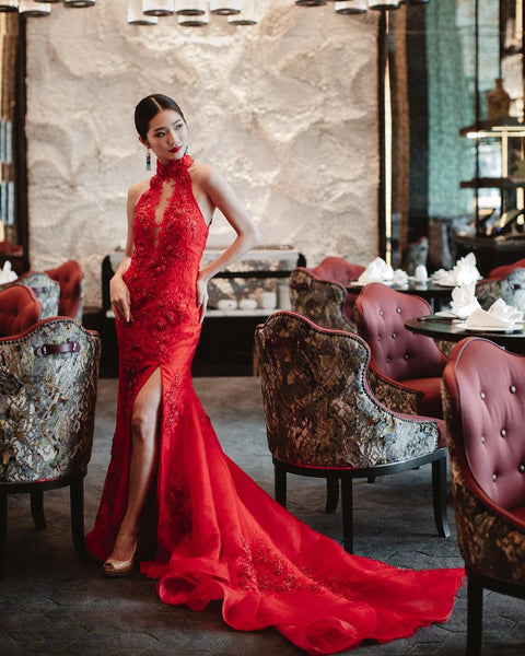 Modern Cheongsam Qipao Dress For Your Chinese Wedding Inspiration, Red Sexy Dress