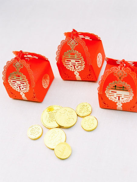 Chinese Wedding Guest Favor Ideas, Double Happiness Boxes for Chinese Banquet