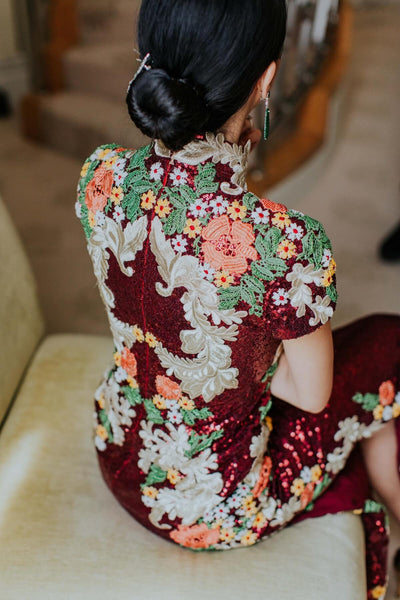 Modern Cheongsam Qipao Dress For Your Chinese Wedding Inspiration, Wine Red Sparkly Chinese Dress