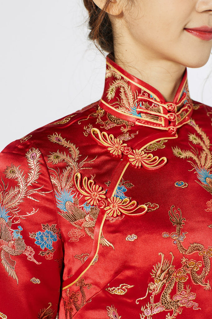 Qipao Dress Fabric Type Brocade
