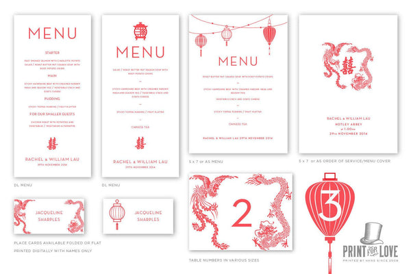 Double Happiness Wedding Invite and Menu